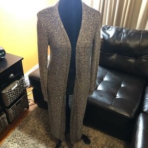 WHBM sequin sweater grey duster